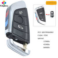 KEYECU Modified Smart Remote Control Key With 3 Button 315MHz/ 433MHz/ 868MHz - FOB for BMW F Series CAS4+/ FEM FCC: KR55WK49863
