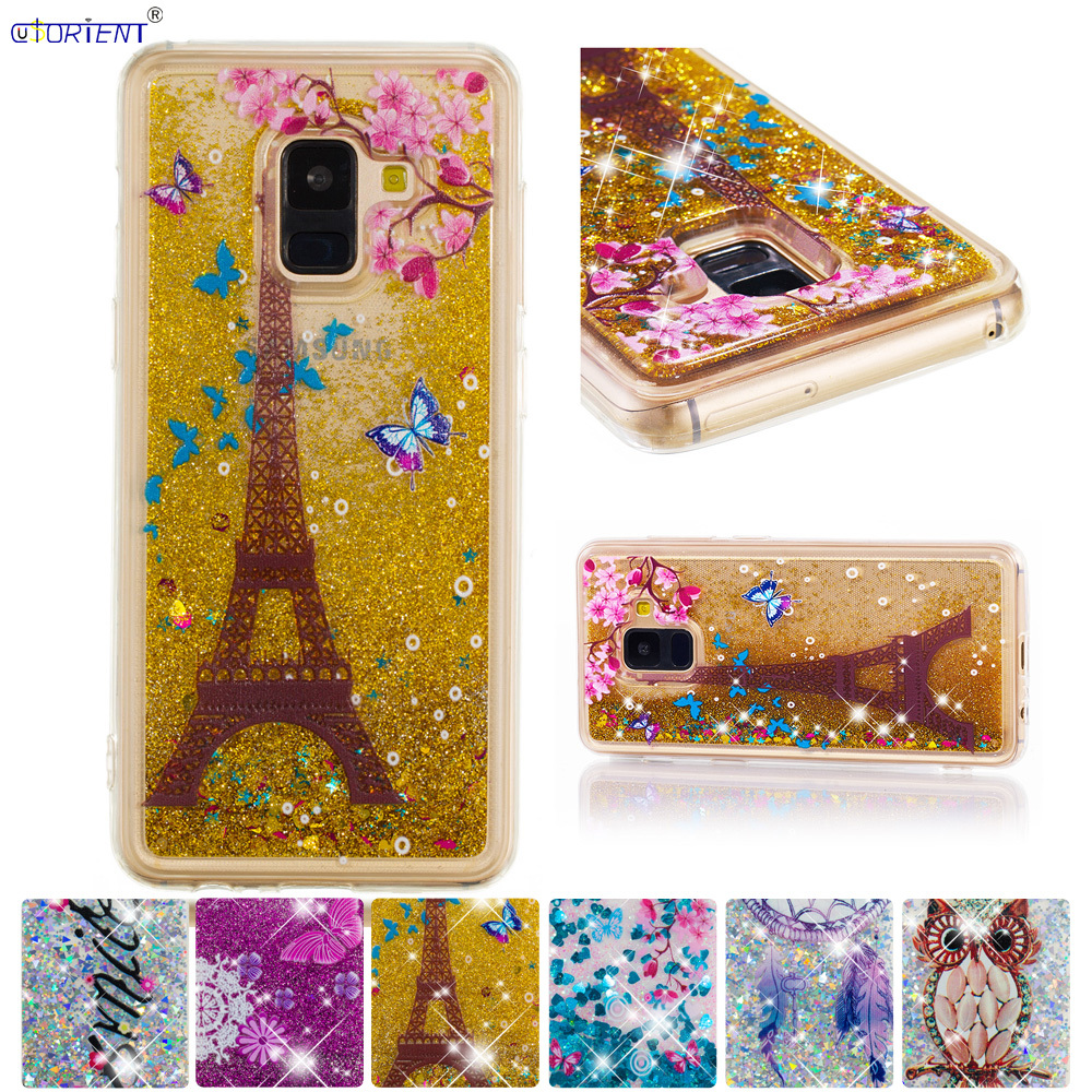 Half-wrapped Case Motivated Fitted Case For Samsung Galaxy A8 A5 2018 Bling Glitter Dynamic Quicksand Liquid Cover Sm-a530f/ds Sm-a530x Sm-a530w Phone Funda Online Discount Cellphones & Telecommunications