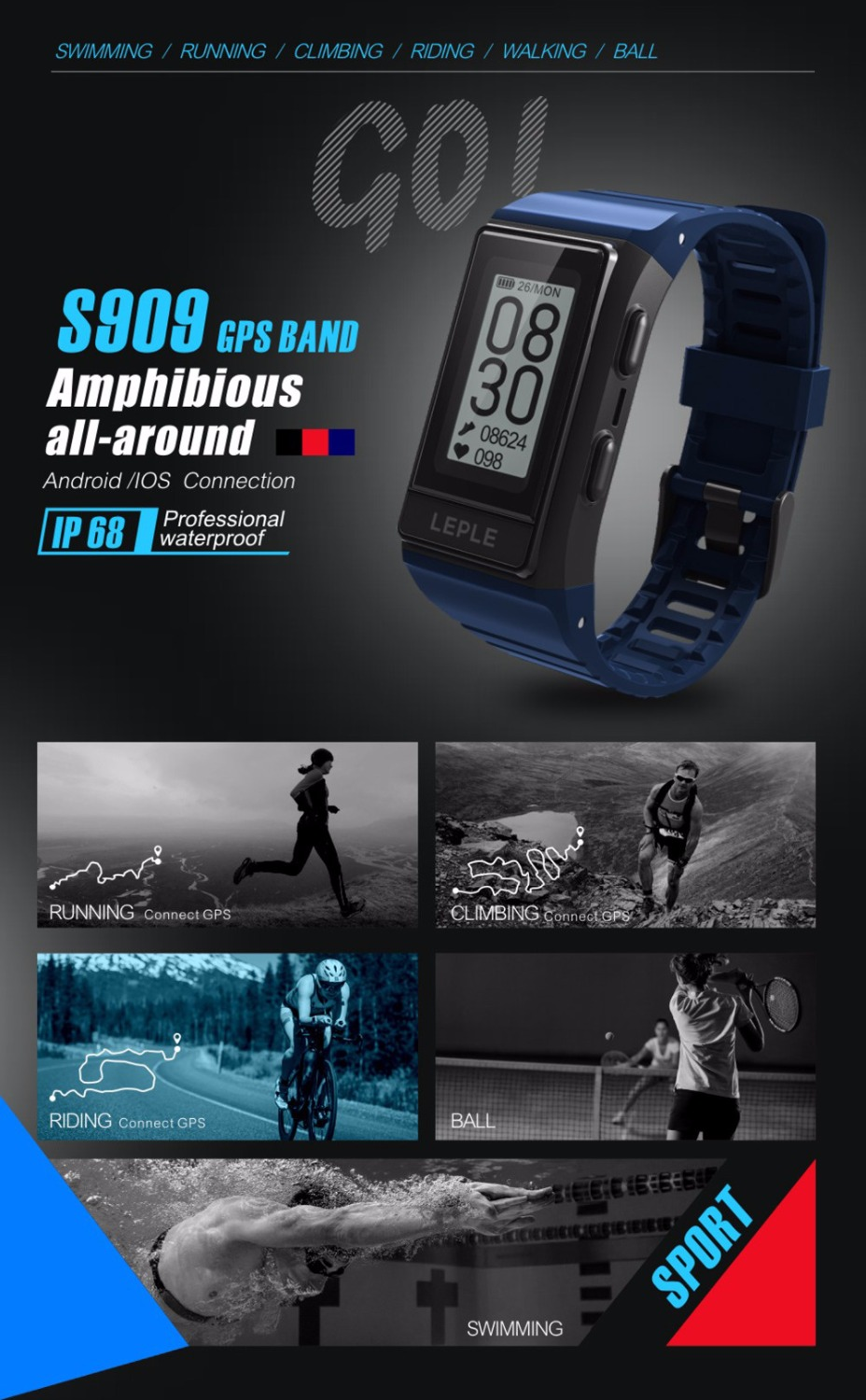 все цены на Smart Bracelet S909 outdoor Multiple Sports Watch Heart Rate Smart Wristband Fitness Tracker smart watch for ios android phone онлайн