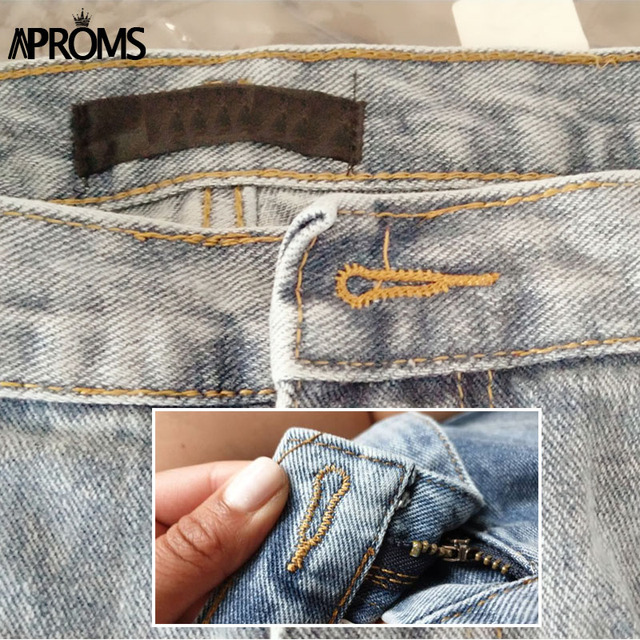 Aproms Casual Blue Denim Shorts Women Sexy High Waist Buttons Pockets Slim Fit Shorts 2019 Summer Beach Streetwear Jeans Shorts 6