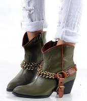 Genuine Leather Chains Winter Shoes Woman Ankle Boots Buckle Botas Mujer Motorcycle Bottes Femmes 2017 Chunky Heel Bottine Femme