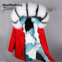 MAOMAOKONG2018 женские с длинным капюшоном Лисий Мех Лайнер Куртка пальто модные зимние с воротником из меха енота Синий Серый Фиолетовый высокое