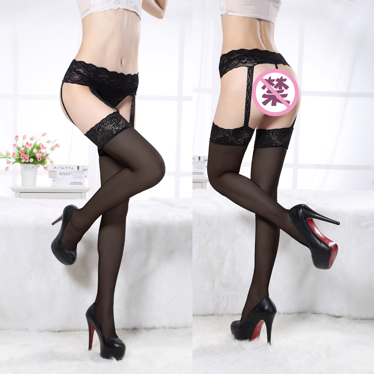One Piece Lace Stockings + Garter Women Chicken Socks Thigh High Socks Porte Jarretelle Lingerie Sexy Hot Erotic