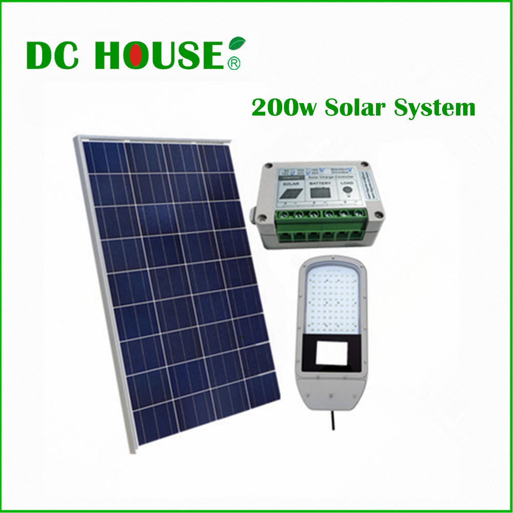 50W Solar LED Street Light 2*100W Solar Panel & 1*15A Solar Charge Controller