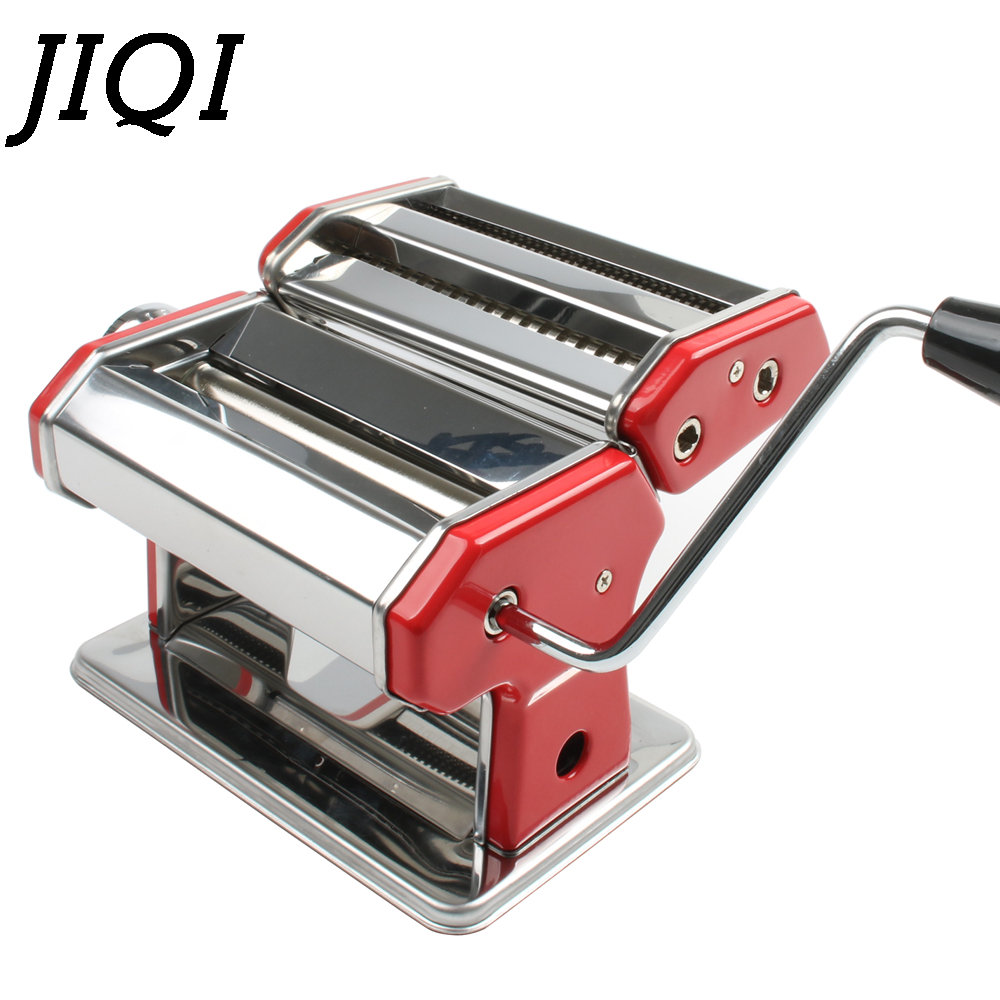 JIQI Manual Noodles Machine Stainless Steel Hand Crank 2 Blades Pasta Making Machine Hand Operated Spaghetti Pasta Cutter Noodle