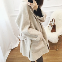 Cashmere Outwear Pockets Waist Belt Loose Casual Winter Coat New Thin Woolen Blend Coat Women Turn down Collar Elegant Overcoat