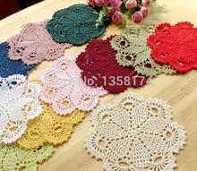 PPD039 ZAKKA Handmade 20cm Round flower Lace Doilies Crochet Coaster Table Place mats cup mat 10pcs/Lot Cotton pads