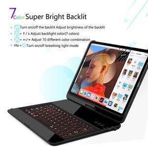 Image 3 - ג לי מסרק אלחוטי iPad מקלדת מקרה עבור iPad פרו 12.9 2018 מגן 7 צבעים תאורה אחורית Buletooth מקלדת עם עיפרון מחזיק