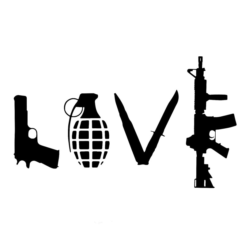 12.7 см*7,5 см любовь с оружием винила автомобиля стикер ручной гранаты пистолет автомобиль укладки наклейки и отличительные знаки AR15 черный/щепка С8-0724