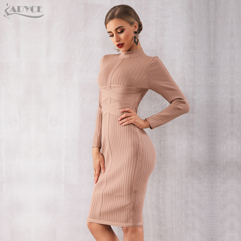 5f3e419e43e BEST DEAL ~ Adyce 2019 New Spring Bodycon Bandage Dress Women Sexy Nude Long  Sleeve Midi Club Dress Vestidos Celebrity Evening Party Dresses