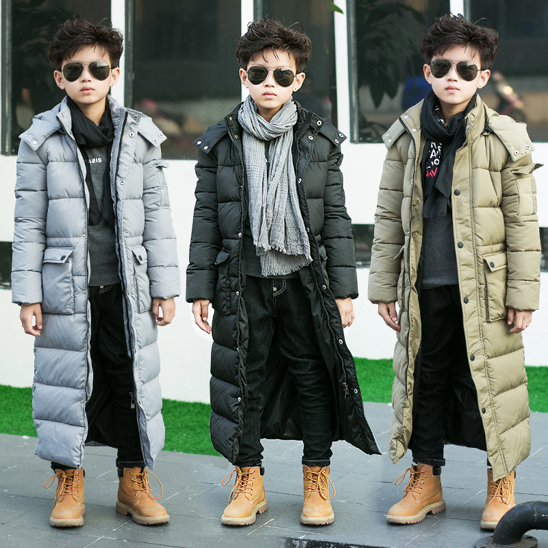 ФОТО Down jacket boys  x-long Winter Boy Down Jackets 8 9 10 11 12 13 14 15 16 Long Thick Warm Children Winter Outerwear Parkas