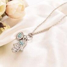 Alloy Drop Oil Fatima Necklace Pendants for Women Trendy Blue Eye Micro-inlaid Zircon Jewelry Sweater Chain Kolye Pingente