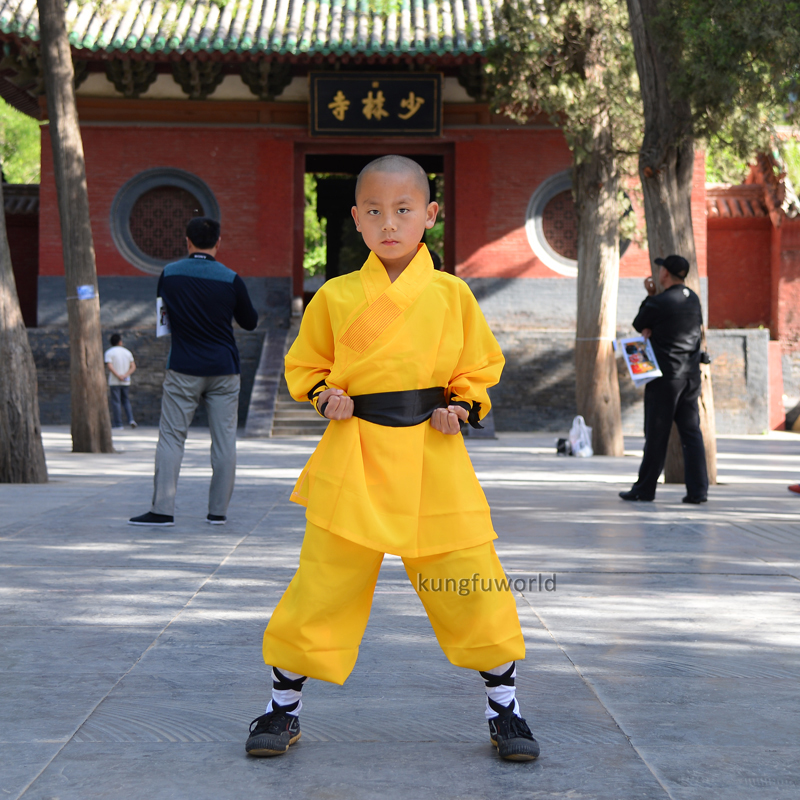 Yellow Color Shaolin Monk Kung fu Uniform Chinese Martial arts Wing Chun Tai Chi Karate Suit Kids Adults high quality dark gray linen shaolin monk robe kung fu uniform tai chi suit martial arts clothes