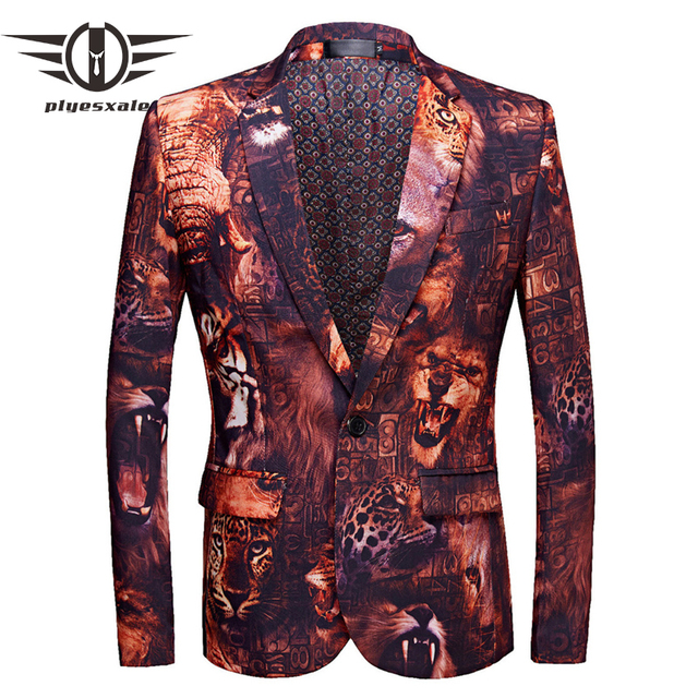 6c88a6b8d568 Plyesxale Brand Men Blazer Jacket Slim Fit 3D Tiger Lion Mens Printed  Blazer New Designs Men s Blazers Stage Costume Homme Q483