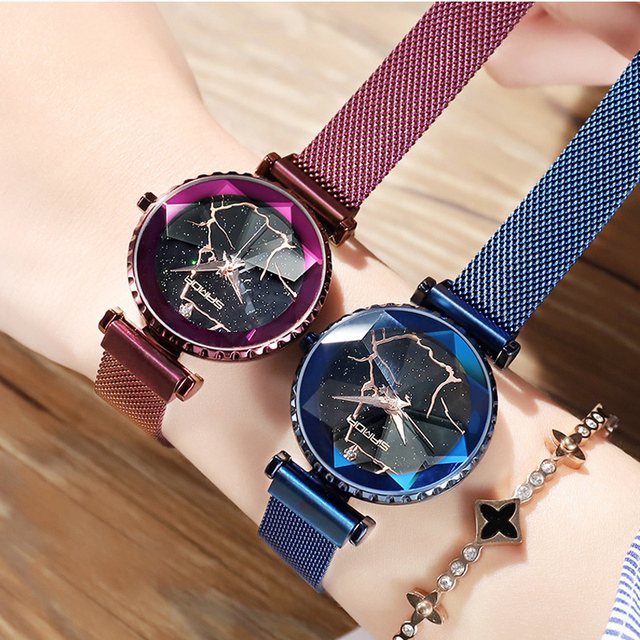 2018 Luxury Magnet Women Watches Gold Dress Bracelet Crystal Quartz Ladies Watch Starry Sky Female Steel Clock relogio feminino 2