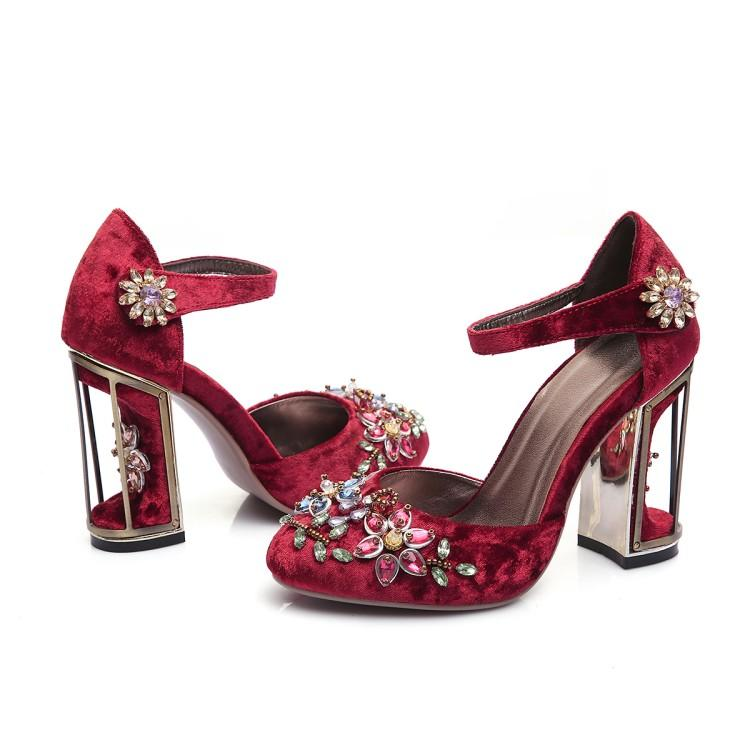 US4-11 femmes velours cuir bout rond fleurs oiseau Cage talons strass cristal cheville boucle pompes chaussures 3 couleurs Plus Sz A775
