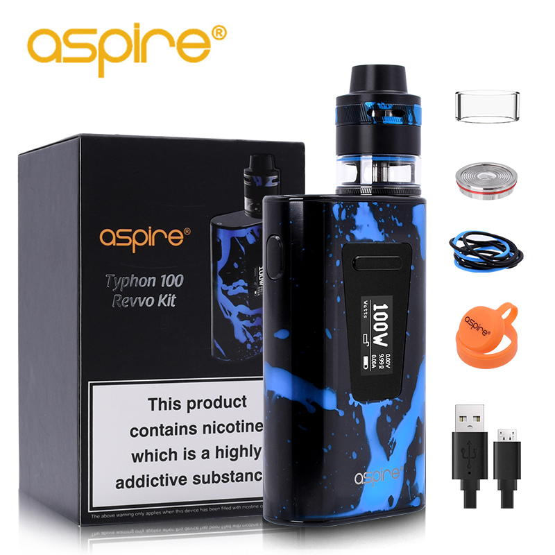 Electronic Cigarette Aspire Typhon Revvo 100W Vape Kit E Cig Device with 5000mah Built-in Battery and 2ML Revvo Atomizer Tank