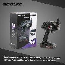 Transmissor de controle remoto digital goolrc tg3 2.4ghz 3ch, transmissor com receptor para carro, barco a rc