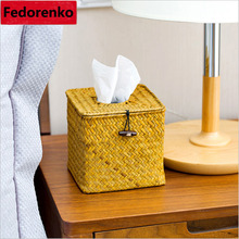 Retro Rattan Seaweed Crafts Handmade Straw Woven Paper Box Removable Tissue storage boxes Case Roll organizer Canister