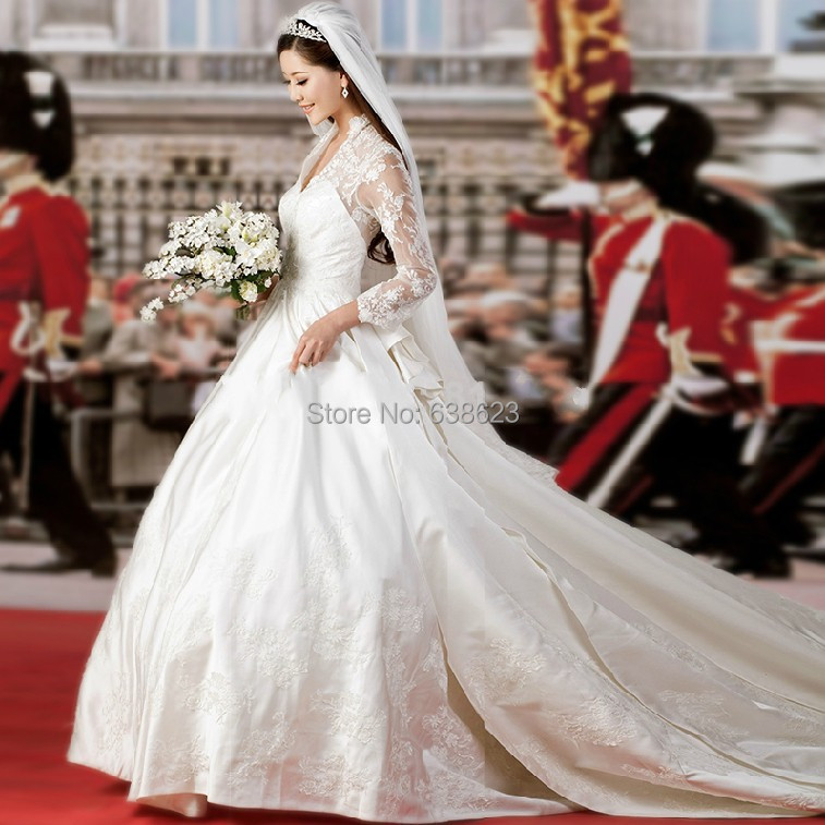 Daw1262 Free Shipping Long Sleeve V Neck Lace Wedding Dress Patterns With Veil In Dresses From Weddings Events On Aliexpress Alibaba