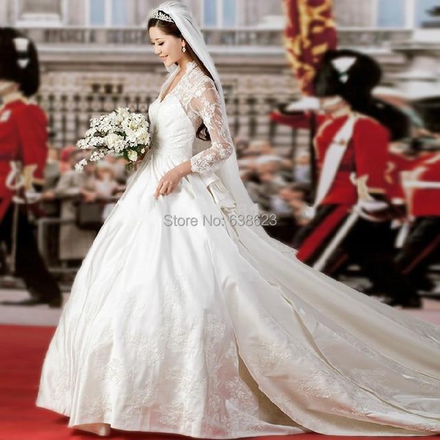 DAW1262 Free Shipping Long Sleeve V neck Lace Wedding Dress Patterns ...