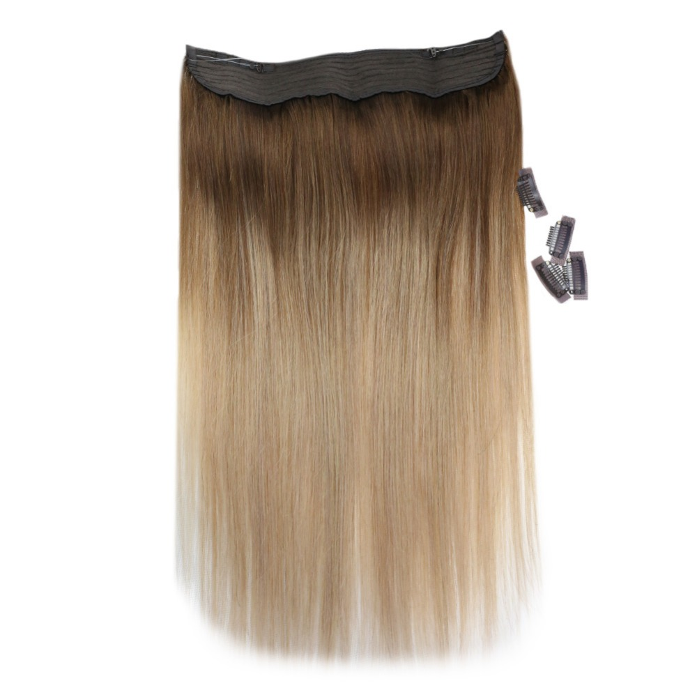 Voller Glanz 100% Menschen Flip Haar Extensions Halo Stil Farbe #10/14 Blonde Kein Clip Keine Band Fisch Linie Halo Remy Haar Verlängerung