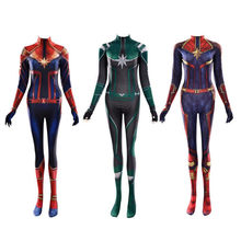 Captain Marvel Anime Carol Danvers Cosplay Costume Bodysuit Rompers Jumpsuits Christmas Party Halloween For Kids Adult Women(China)