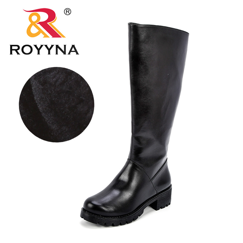 ROYYNA Women Winter Autumn Synthetic Leather Women High Quality Knee High Boots Short Plush lining Warm Zipper Round Toe ShoesROYYNA Women Winter Autumn Synthetic Leather Women High Quality Knee High Boots Short Plush lining Warm Zipper Round Toe Shoes