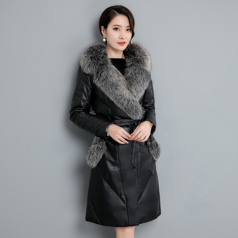Renard Mode Black Pu D'hiver Peau De 2018 Hiver Dames Fourrure Long En Imitation Manteau Noir Femmes Cuir Mouton Slim Veste qw6HZ0zx