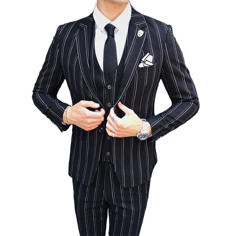 Einfarbig Drei Stücke Slim Fit Männer Anzüge 2018 Frühling Herbst Neue Mode High-end-hochzeit Party Kleid Kostüm Große Größe S-5xl Reinweiß Und LichtdurchläSsig Herrenbekleidung & Zubehör