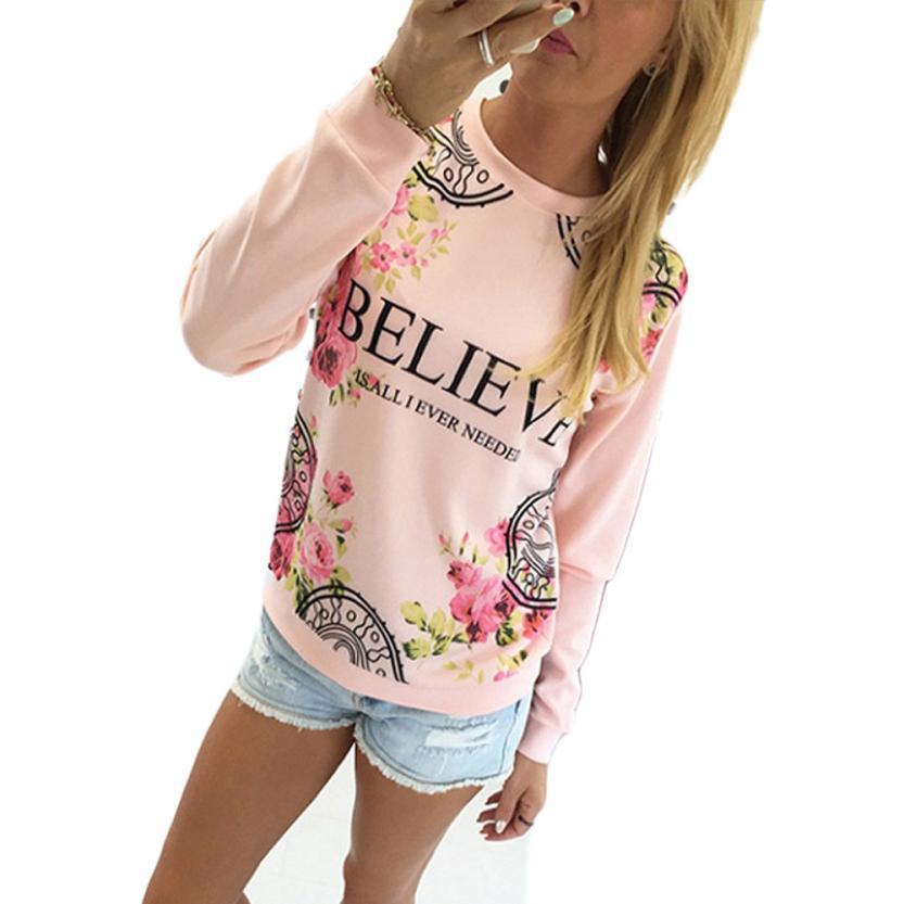 2016 Женская Мода Случайные Свободные Хлопок Цветочные Печати Толстовки Пуловер Толстовка С Длинным Рукавом Блузка Топы