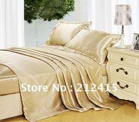 Шелковые постельные принадлежности 4 шт. сплошной цвет шампанского много размер пододеяльник плоский лист наволочку Роскошный Король Коро
