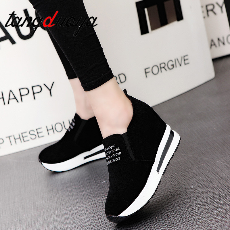 2019 spring and autumn women shoes casual shoes comfortable platform women shoes high heels enhanced shoes invisible wedge