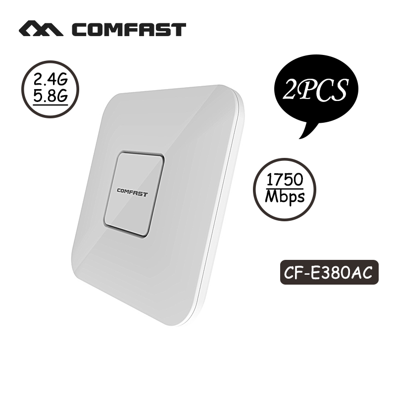 2pcs 1750Mbps 2.4G+5.8G dual-band Wifi Access Point WiFi coverage 11AC wifi router CF-E380AC ceiling wireless AP support openWRT 2pcs 1750m gigabit ac wifi router 2 4ghz 5g dual band wifi repeater access point ap router cf e380ac wireless ceiling ap openwrt