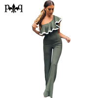 Hilove Rompers Womens Jumpsuit Summer One Shoulder Ruffles Jumpsuits Elegant Ladies Party Wear Wide Leg Pants