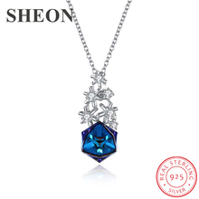 SHEON 925 sterling silver Christmas Snowflake Square Crystal Personality Pendant Necklace Fine Jewelry for Women Christmas Gift все цены