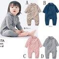 Новый Корейский слой Воздуха зимой детское платье внешней торговли моды с длинным рукавом ползунки одним pieces новорожденных мужского пола и женщина
