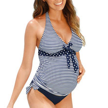 Two pieces of pregnant women's split body wave point binding striped print push up padded bra Set bathing suit Beachwear 40fb21(China)