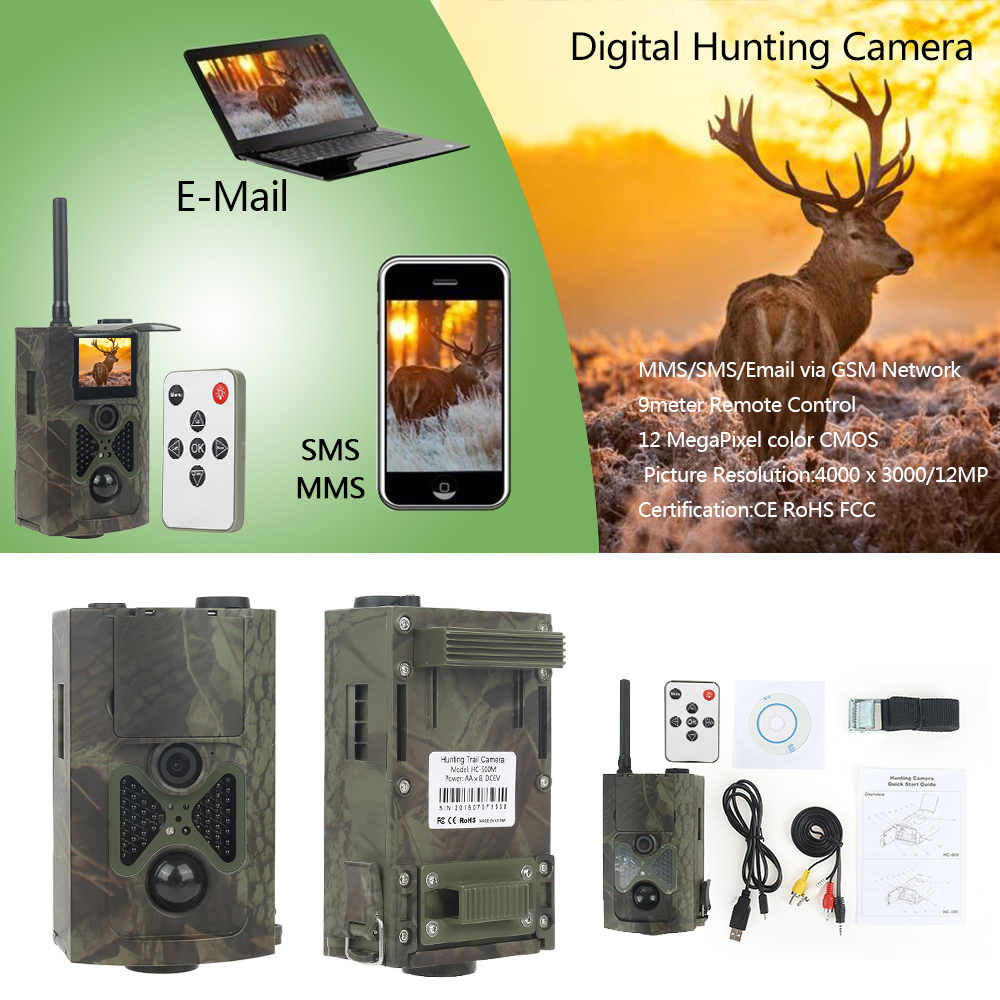 HC300M Chasse Photos Pièges Caméra 940nm 12MP Infrarouge Nuit Vision Caméra Trail Chasse MMS GPRS Scout 2g/3g Chasse Caméra