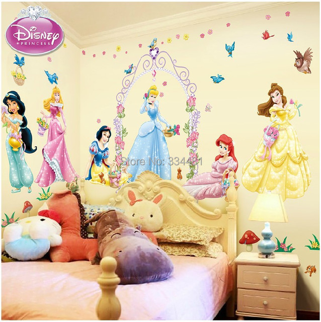 free shipping extra large wall stickers cartoon 7 princess party for