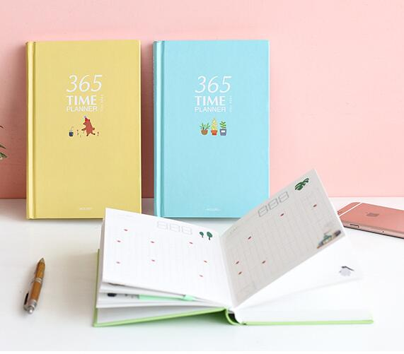 Colorful 365 days personal diary planner hardcover notebook 2017 office schedule cute Korean stationery libretas y cuadernos kinbor 4 colors cute planner notebook 365 days personal daily plan book project agendas 2017 kawaii gift korean stationery