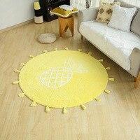 Бытовые хлопчатобумажные круглые маты коврик для спальни защита пола прочный креативный узор ананаса желтый цвет ковер