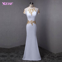 YQLNNE Fashion White Long Mermaid Evening Dress Women Party Dresses Gold Sequins Floor Length Robe De