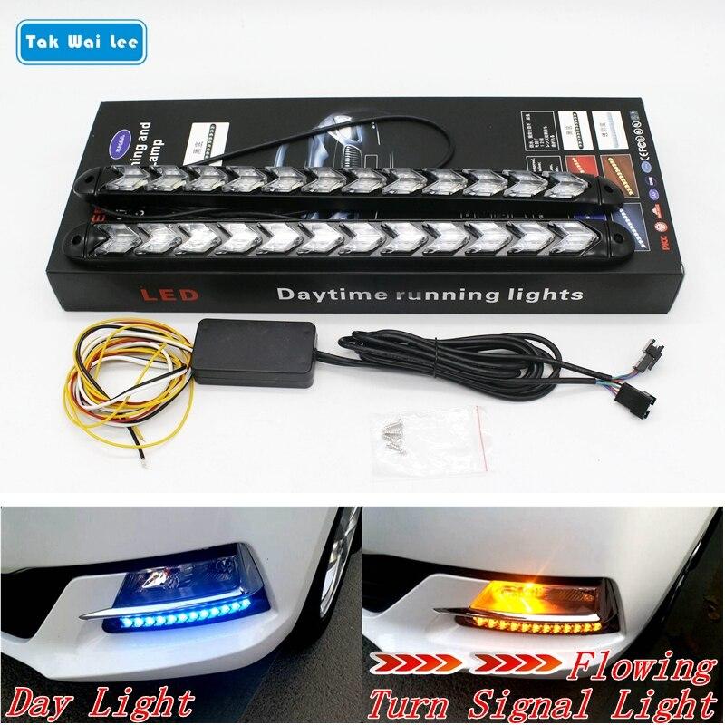 Tak Wai Lee 2 pcs LED DRL Daytime Running Light Car Styling Dynamique Streamer Flux Ambre Clignotants Avertissement de Direction brouillard Jour Lampe