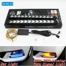 Tak Wai Lee 2 pz LED DRL di Giorno Corsa e Jogging Light Car Styling Streamer Dinamico Flusso Ambra Segnale di Girata di Avvertimento Sterzo nebbia Giorno della Lampada