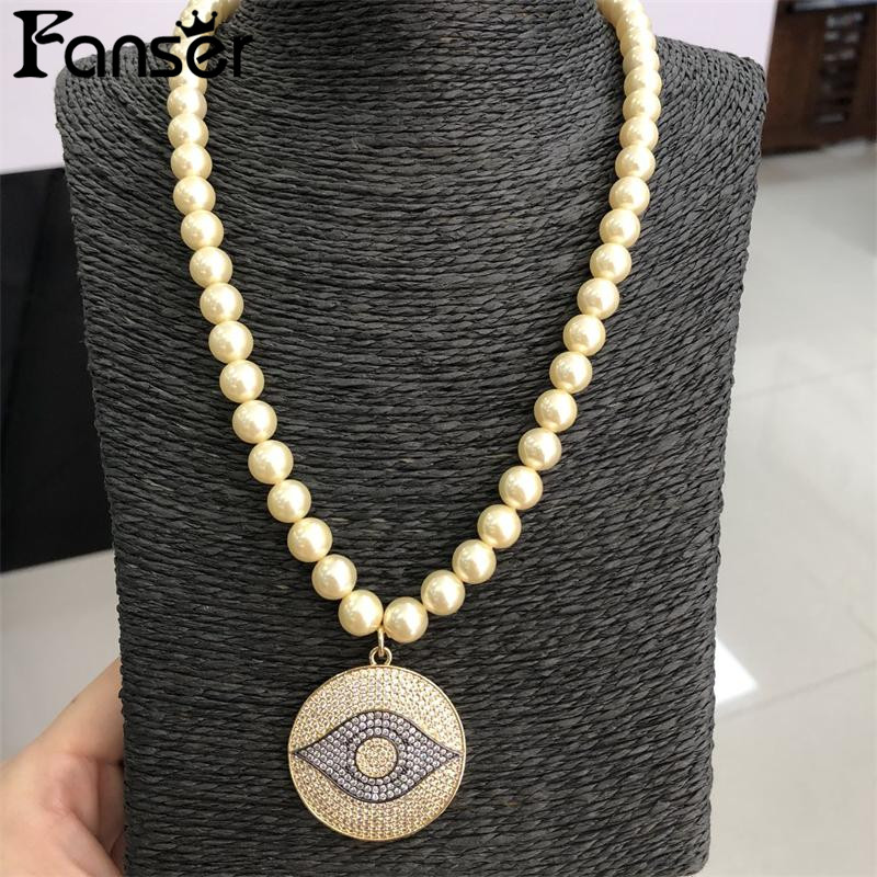 FANSER Shell pearl Circle eye Women in Pendant Necklace 50CM Sweater chain Fashion Party jewellery Free Mail Female