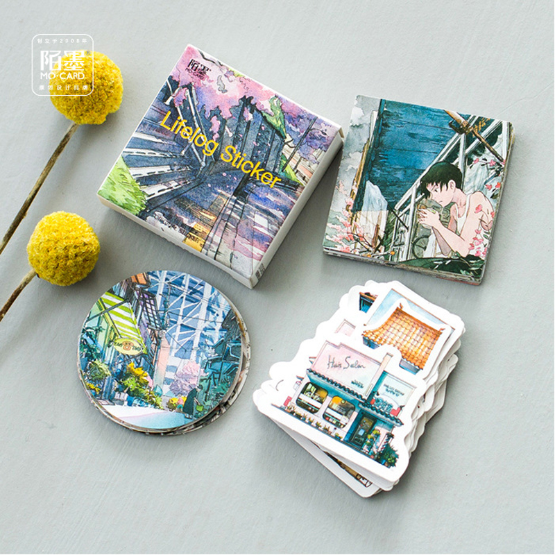 45pcs/pack Beautiful Streetscape Street View Paper Stickers Student Stationery Notebook Bottle DIY Adhesive Decor Stick Label