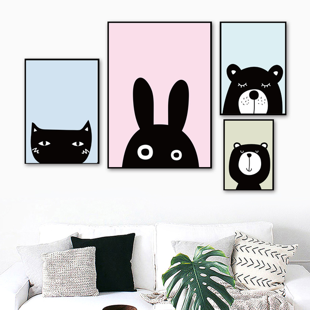 Cartoon Black White Cat Rabbit Bear Wall Art Canvas Painting Nordic Posters And Prints Animal Wall Pictures Kids Room Decor