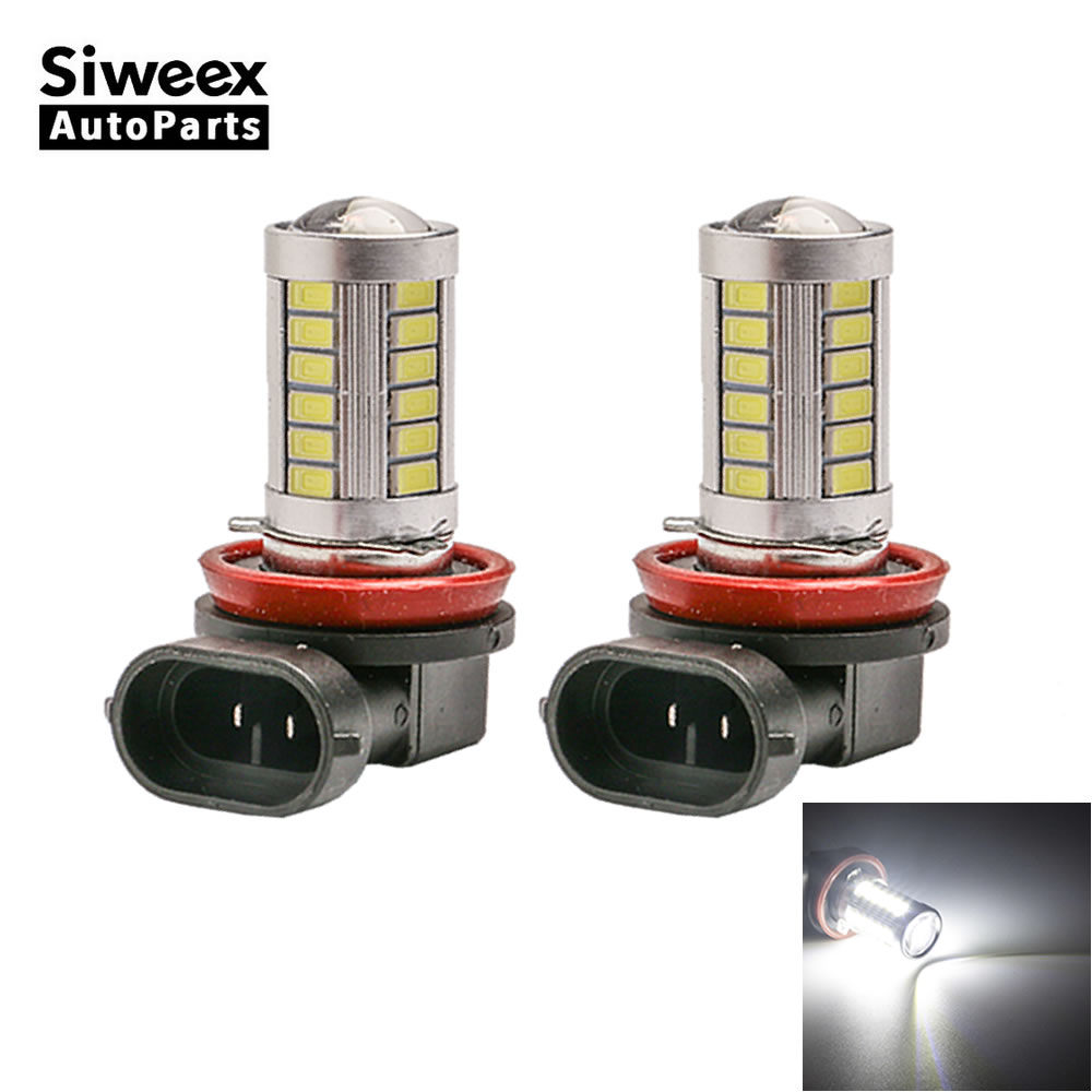 2X H8 PGJ19-1 H11 PGJ19-2 33 5730 LED Bulb Top Lens Replacement Fog Light Driving Lamp White DC 12V