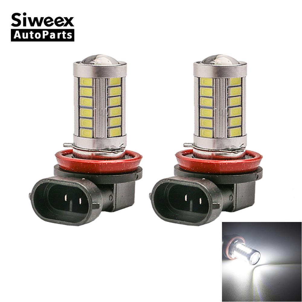 2X H8 PGJ19-1 H11 PGJ19-2 33 5730 LED Bulbs Top Lens Replacement Fog Light Driving Lamp White DC 12V